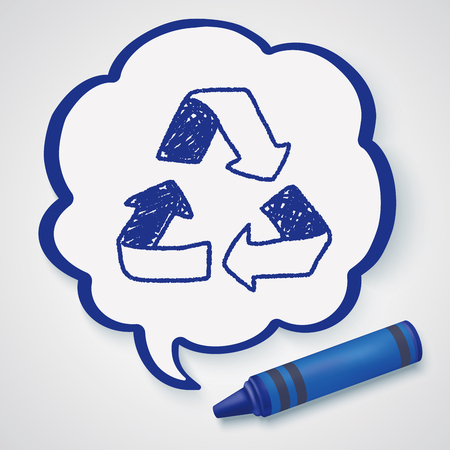 graphic drawing: Environmental protection concept; Doing recycle to protect our environment; recycled garbage; doodle