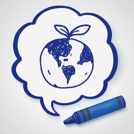 proteccion: Concepto de protección del medio ambiente; Proteger nuestro medio ambiente, proteger nuestro planeta; garabato Vectores