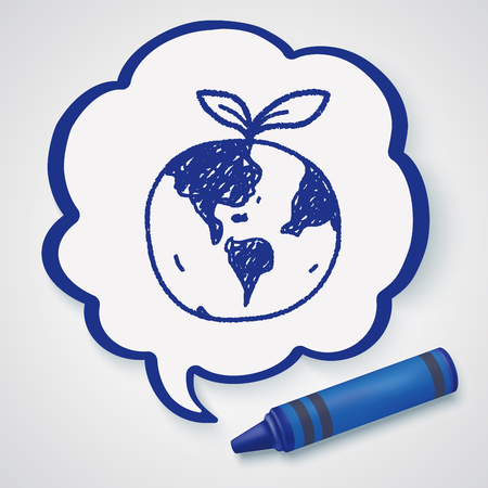 protection symbol: Environmental protection concept; Protect our environment, protect our planet; doodle Illustration