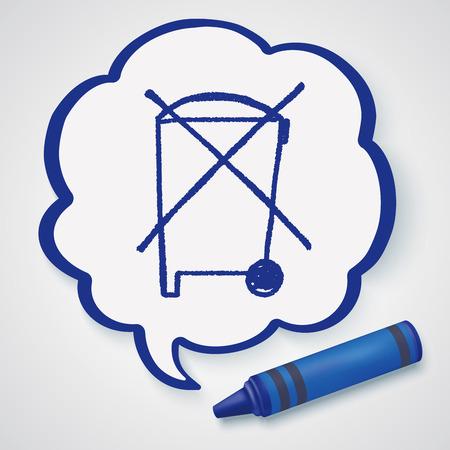 littering: no trash doodle Illustration