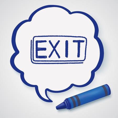 emergency exit label: exit doodle