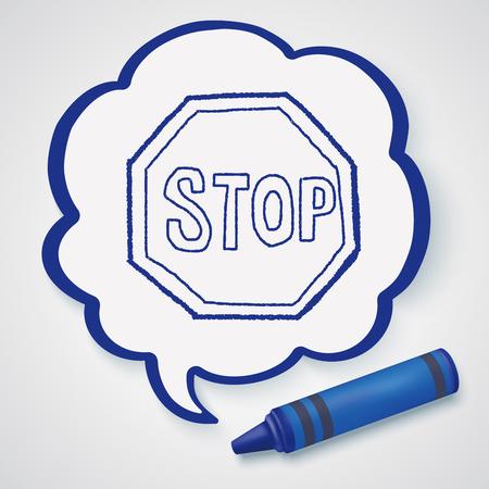 stop: stop sign doodle Illustration