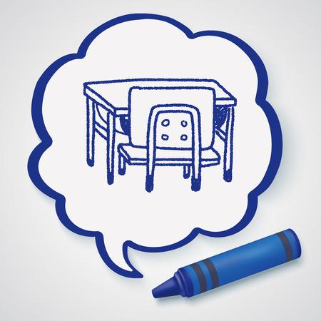 school desk: school desk doodle