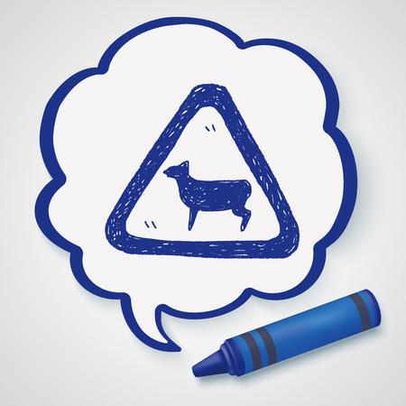 sheep warning: sheep sign doodle Illustration
