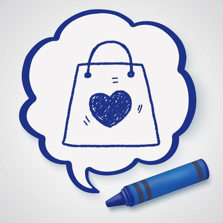 bag icon: love shopping bag doodle
