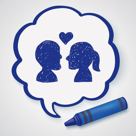 love kiss: love doodle Illustration