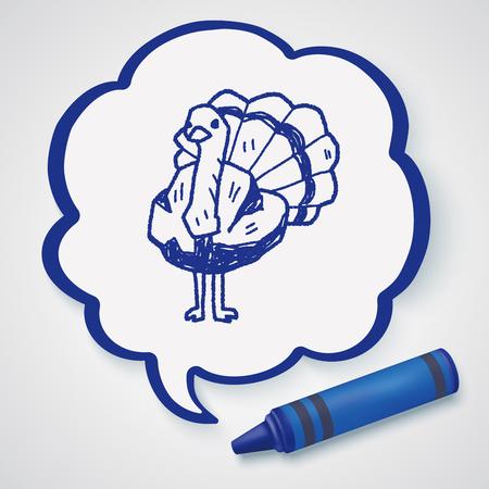 avestruz: doodle de avestruz