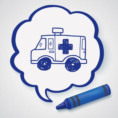 ambulancia: Ambulancia Doodle Vectores