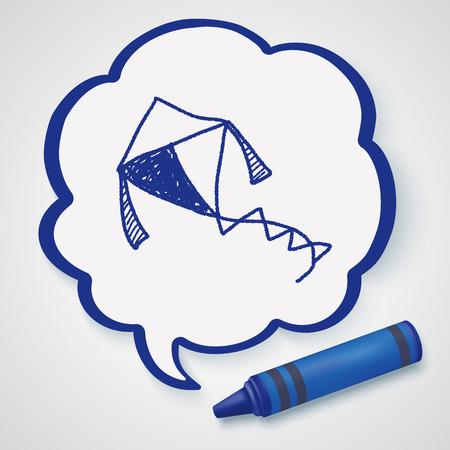 paper kites: Kite doodle Illustration