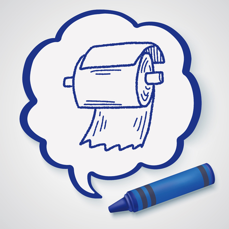 toilet roll: toilet paper doodle Illustration