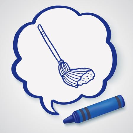 zwabber: mop doodle Stock Illustratie
