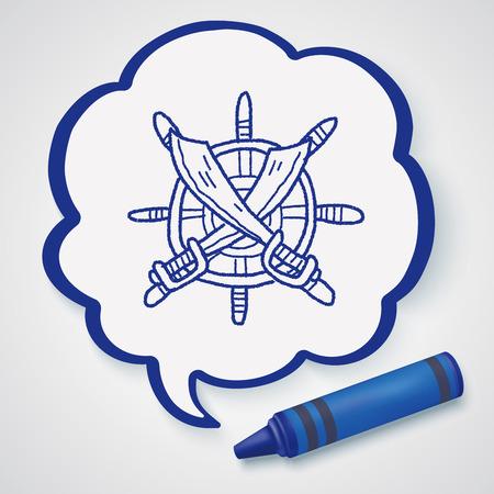 Steuerruder: Messer und Rudder doodle Illustration
