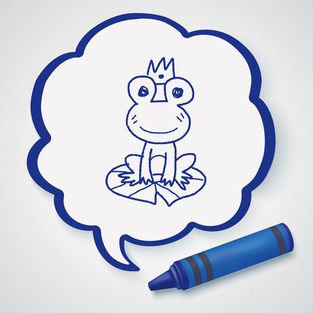 rana principe: doodle de príncipe rana Vectores