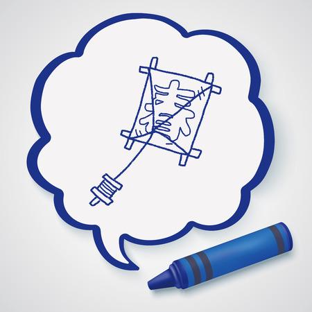 windsock: Japanese spring word kite doodle Illustration