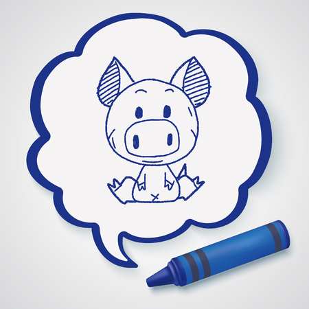 chinese pig: Chinese Zodiac pig doodle drawing