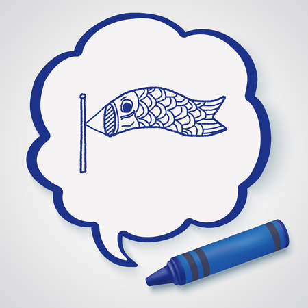 windsock: Japanese  kite doodle Illustration