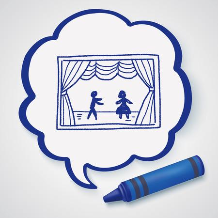 teatro: doodle de teatro Vectores