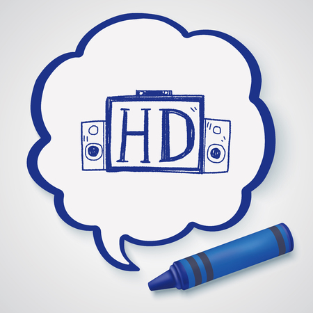 hd tv: HD TV doodle Illustration