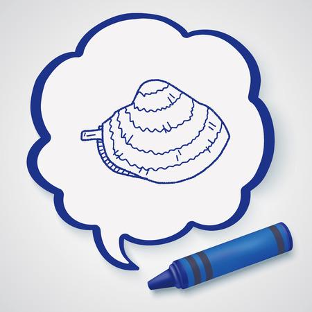 almeja: doodle de almeja Vectores