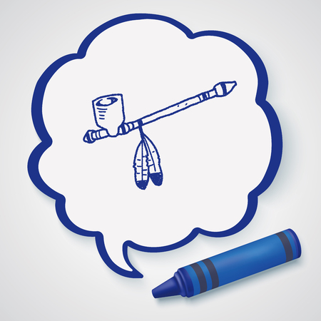 Indians Pipe smoke doodle Illustration