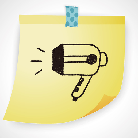 dryer: Hair dryer doodle drawing Illustration