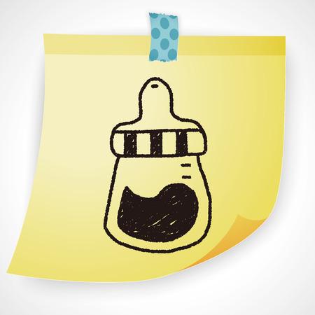 feeding bottle: feeding bottle doodle drawing Illustration