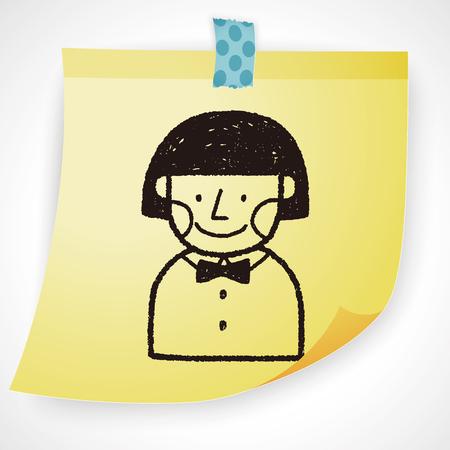 young schoolgirl: doodle schoolgirl Illustration