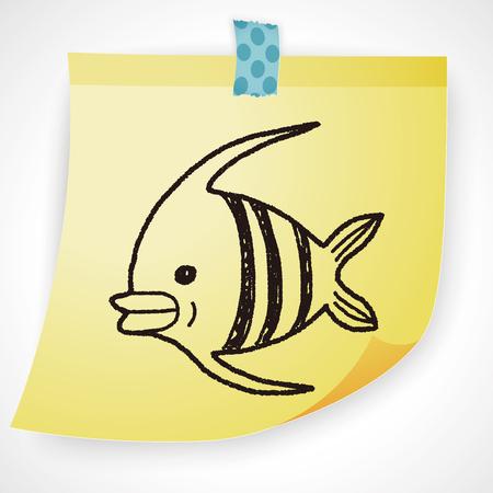 pterophyllum: Doodle Angelfish Illustration