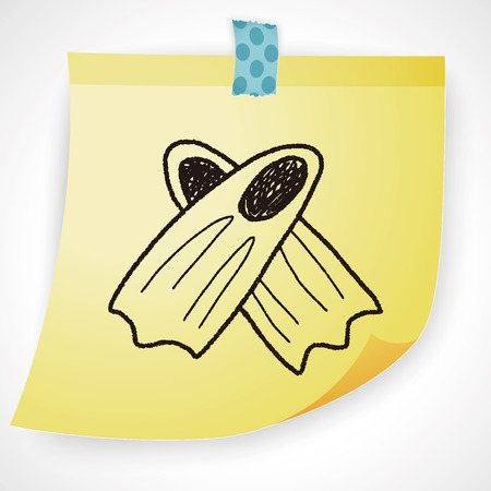 flippers: aletas del doodle Vectores