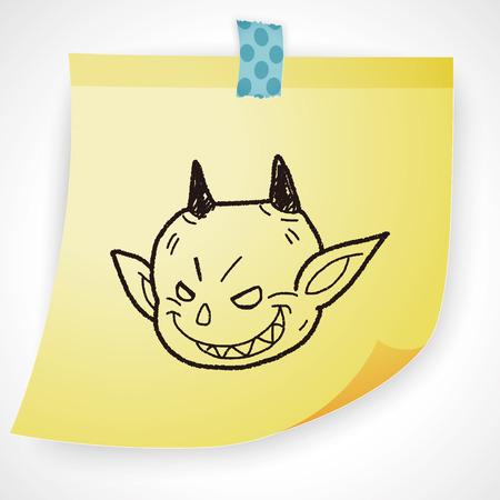 devil horns: devil doodle Illustration