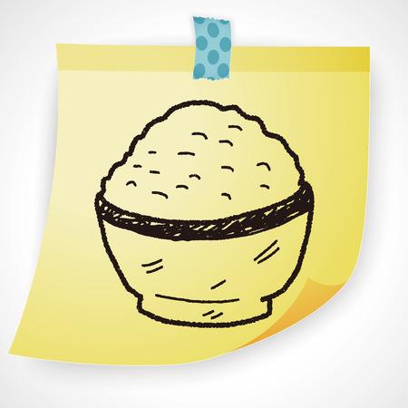 brown rice: rice doodle Illustration