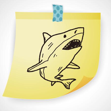 great danger: shark doodle Illustration