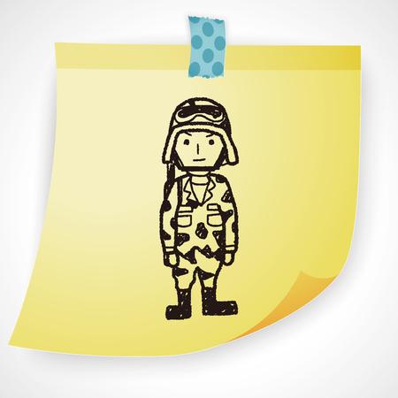 wojenne: soldier doodle Ilustracja