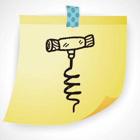 corkscrew: wine corkscrew doodle Illustration