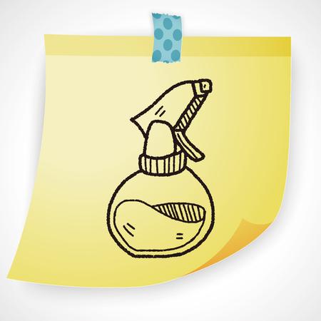 packaging equipment: cleaner bottle doodle Illustration