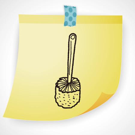toilet brush: toilet brush doodle Illustration