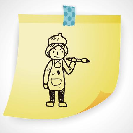graphic artist: painter doodle Illustration