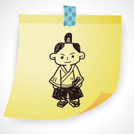swordsman: samurai doodle Illustration