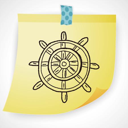 Steuerruder: Ruder doodle Illustration