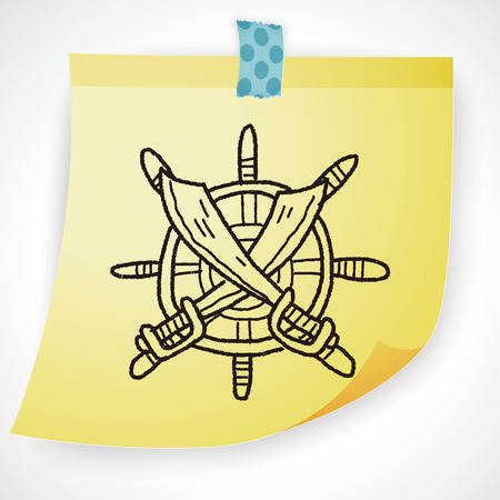 Steuerruder: Messer und Rudder doodle Illustration