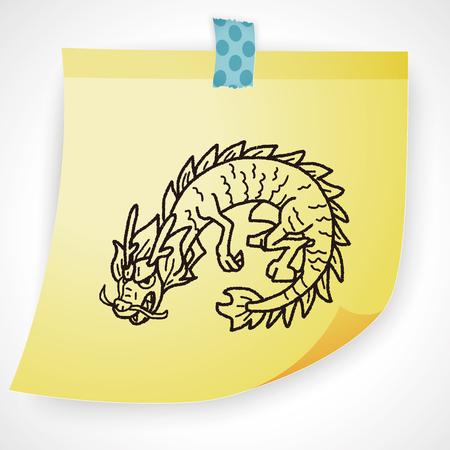 tatouage dragon: Dragon chinois doodle