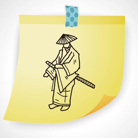 army helmet: samurai doodle Illustration