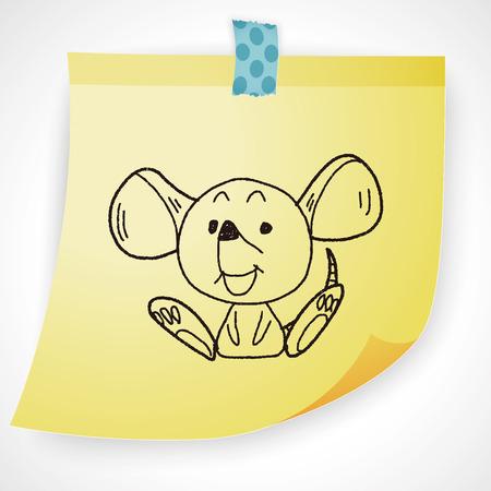 zodiac background: Chinese Zodiac mouse doodle drawing