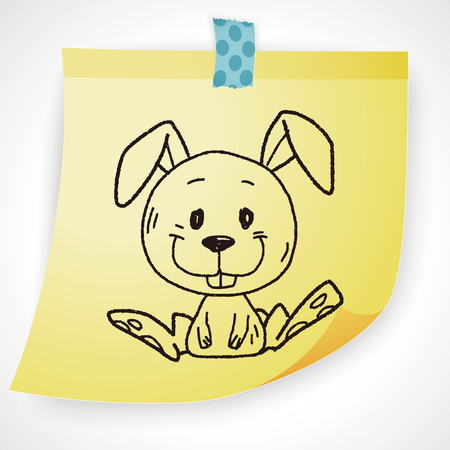 easter sign: Chinese Zodiac rabbit doodle drawing