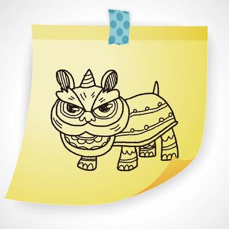 hand drawing: Chinese New Year; The dragon and lion dancing head doodle