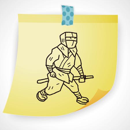 samurai sword: ninja doodle Illustration