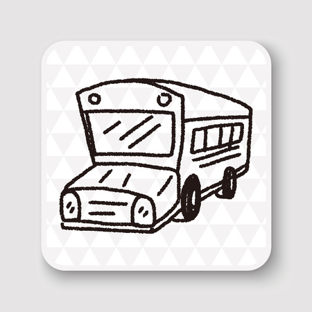 school set: Doodle Bus Illustration