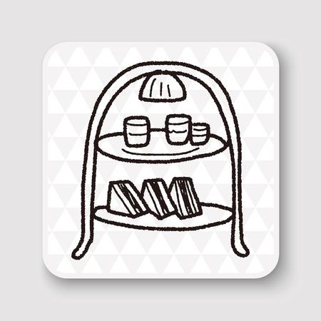 stand teapot: afternoon tea doodle Illustration