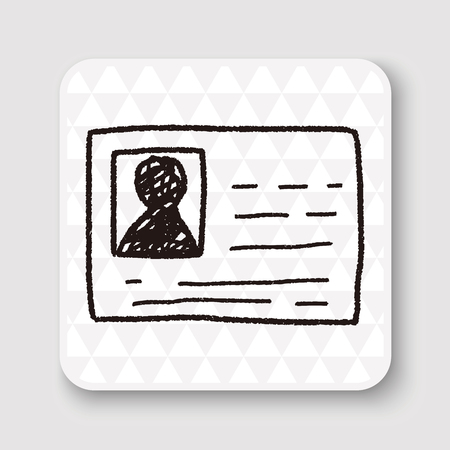 Doodle id kaart Stock Illustratie
