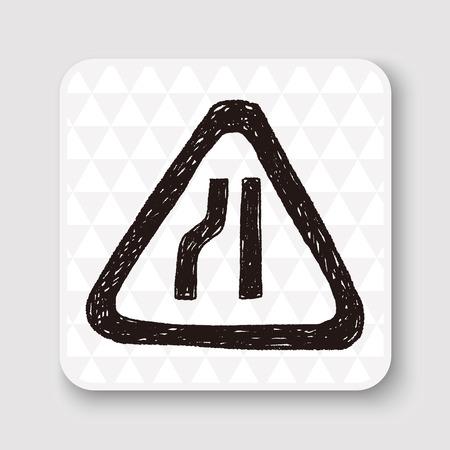 motorist: road narrow merge doodle